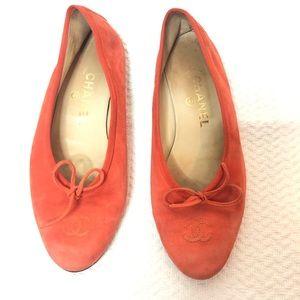 Chanel Suede Monogram Ballet Flats Orange Size 38